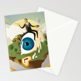 great surrealism painter on big floating eye in island with clocks Stationery Cards
