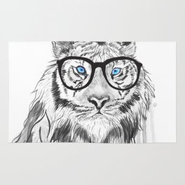 Tiger with glasses Rug