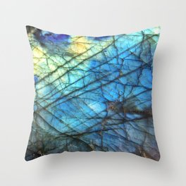 Royal Labradorite Crystal Agate Gemstone Print Throw Pillow