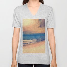 Approaching Sunset Abstract Seascape Unisex V-Neck