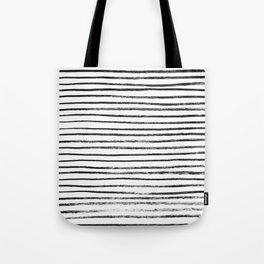 Black Brush Lines on White Tote Bag