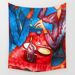 Two friends drinking wine and having dinner Wall Tapestry