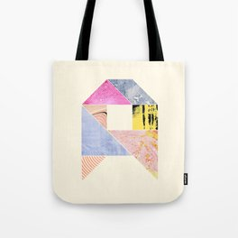 Collaged Tangram Alphabet - A Tote Bag