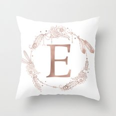 Letter E Rose Gold Pink Initial Monogram Throw Pillow