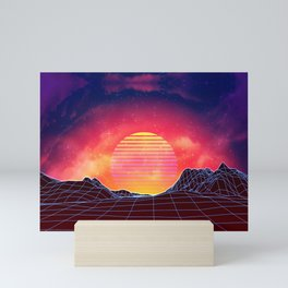 Neon glowing grid rocks, retro futuristic landscape design Mini Art Print
