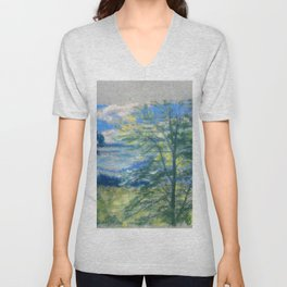 Trees And Fields - Arthur Bowen Davies Unisex V-Neck