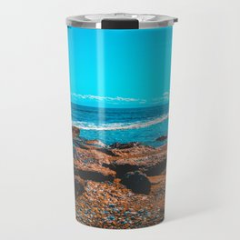 Beautiful orange rocks at greece with blue sea and white waves Travel Mug