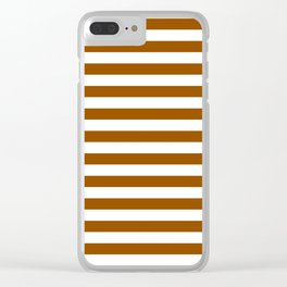 Narrow Horizontal Stripes - White and Brown Clear iPhone Case