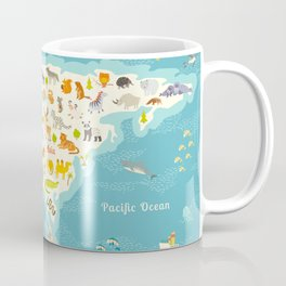 The most detailed animals world map, Eurasia. Also, birds, ocean life, reptiles, and mammals. Beauti Coffee Mug