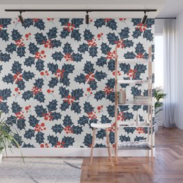 Holly berry, Christmas pattern Wall Mural