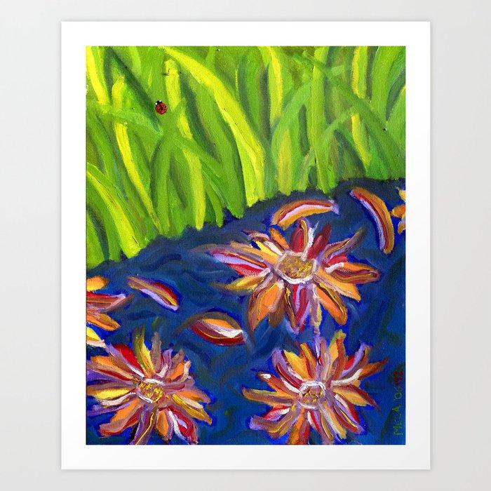 Flowers Float by Ladybug Grass Art Print