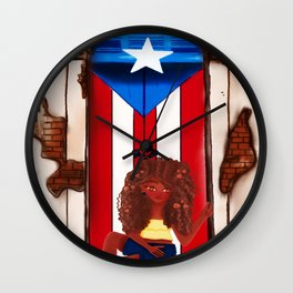 Girl in Door- Old San Juan Door- Puerto Rico Wall Clock
