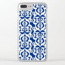 Ikat Moorish Damask, Cobalt Blue and White Clear iPhone Case