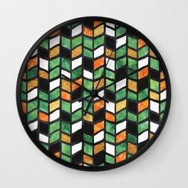 Herringbone Golden Jade Wall Clock
