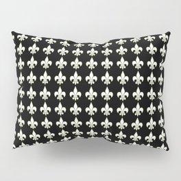 Fleur de lis ..white on black Pillow Sham