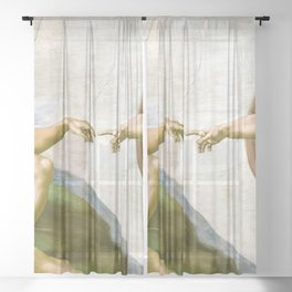 The Creation of Adam Painting by Michelangelo Sistine Chapel Sheer Curtain