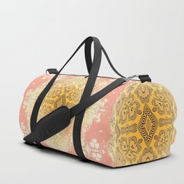 Coral Golden Magical Mandala Yoga Duffel Bag Duffle Bag