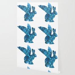 Blue Aqua Turquoise Flying Rabbit Print Wallpaper
