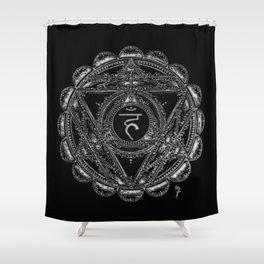 Black and White Throat Chakra Shower Curtain