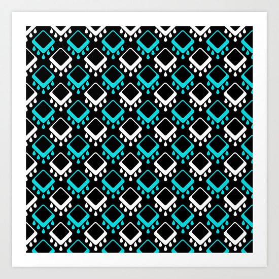 An abstract geometric pattern . Decoration white and turquoise on a black background . Art Print
