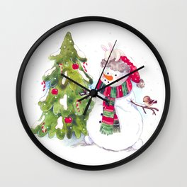 Happy new Year and marry Christmas. snowman,bunny and bird. Wall Clock