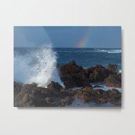 Waves and Rainbow at Puerto de la Cruz Metal Print