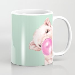 Bubble Gum Sneaky Baby Pig in Green Coffee Mug