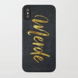 Merde gold foil text iPhone Case