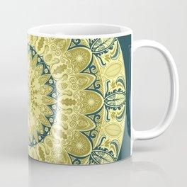 Gold and Teal Oak Leaf Mandala Coffee Mug