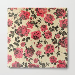 Red Rustic Roses on Faux Gold Metal Print