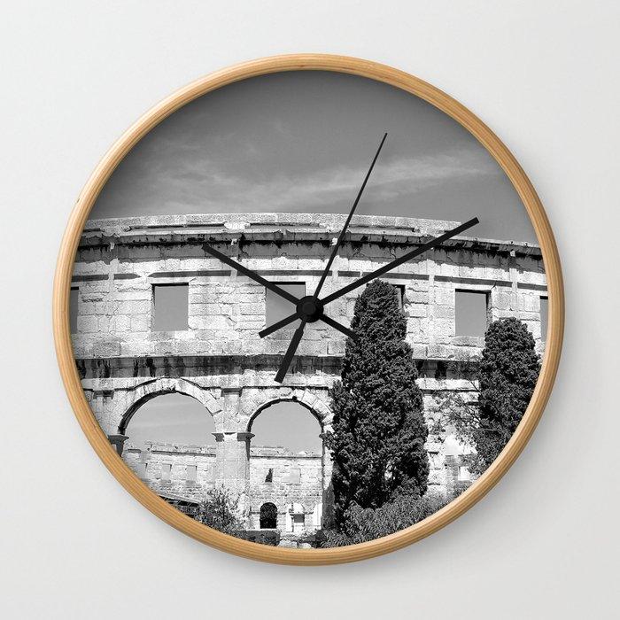 arena amphitheatre pula croatia ancient black white Wall Clock
