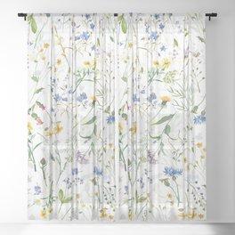 Scandinavian Midsummer Blue And Yellow Wildflowers Meadow  Sheer Curtain