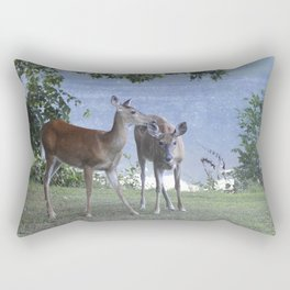 Early Evening Visitors Young Deer -Debra Cortese photo art Rectangular Pillow