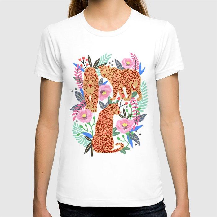 The Leopards, leopard print, animal print, flower print T-shirt