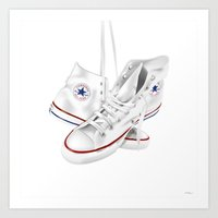 converse Art Prints featuring Converse by Kenny Risk