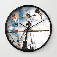 pirate ship Wall Clocks featuring Pirate Ship by For the easily distracted...