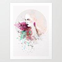 fashion illustration Art Prints featuring FASHION ILLUSTRATION 3 by Justyna Kucharska