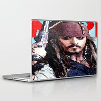 jack sparrow Laptop & iPad Skins featuring Jack Sparrow by Brian Raggatt