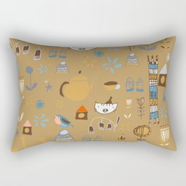 hygge cat and bird camel Rectangular Pillow