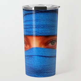 A portrait of a blue eyes lady with a blue desert scarf around her head in Egypt Travel Mug