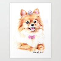 pomeranian Art Prints featuring Pomeranian Princess by 13 Styx