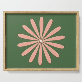 Big Daisy Retro Minimalism in Blush and Green Serving Tray