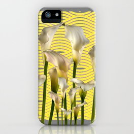 Grey & Yellow Pattern Calla Lilies Art iPhone Case