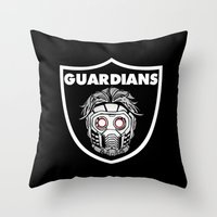 guardians of the galaxy Throw Pillows featuring Guardians  by Buby87