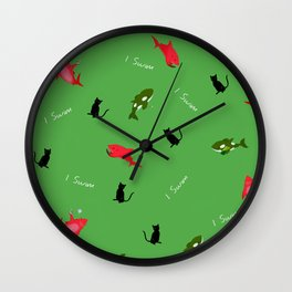 Green Orca and Red Shark and Black Cats Wall Clock