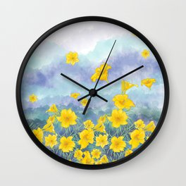 Stella D'Oro Daylily flowers over clouds Wall Clock
