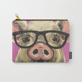 Colorful Pig, Cute Pig Art, Pink Pig Carry-All Pouch