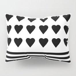 Heart Stripes Black on White Pillow Sham