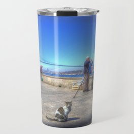 Fishermen And Cats Istanbul Travel Mug