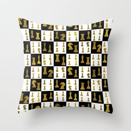 Chessboard and Gold Chess Pieces pattern Throw Pillow